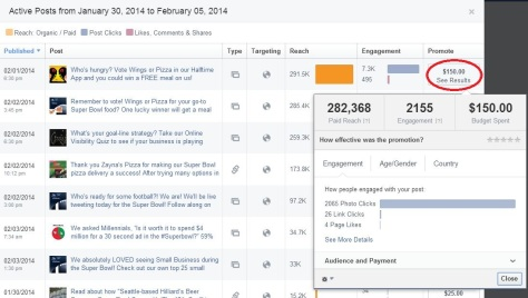 Admin Insights Panel - Posts - Active Posts - Paid Results Zoomed In - Circle